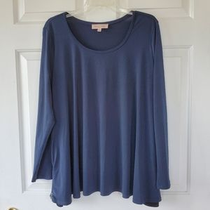 Philosophy/ Blue Top with Zippered Sides
